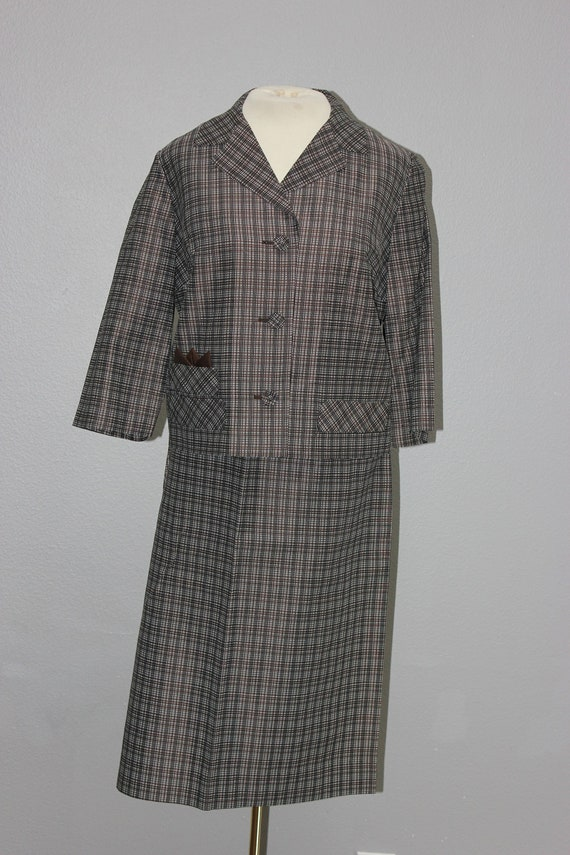 Awesome 1960s Vintage Brown Plaid Skirt Suit