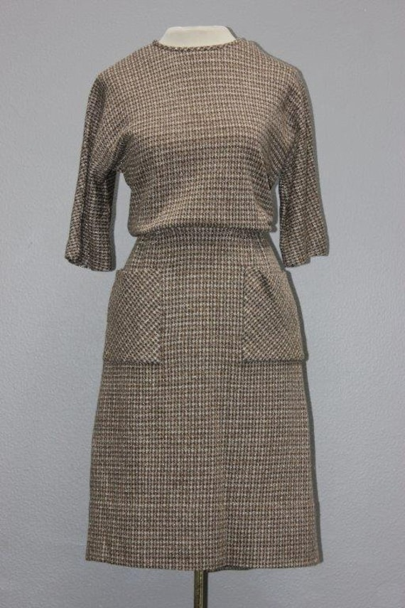 Brown Houndstooth 1950's Knit Sheath Dress