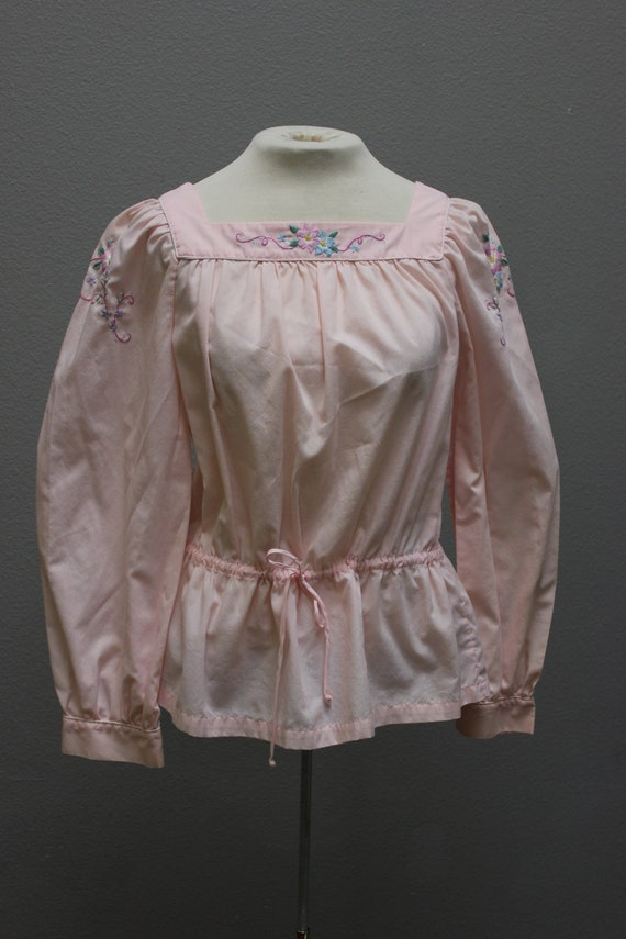 Gorgeous Pink Floral Embroidered Vintage Blouse