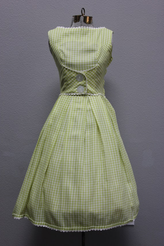 Vintage 1960s Lime Cotton Gingham Sundress
