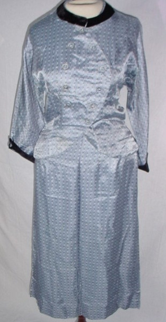 Vintage 1940s WWII Blue/Black/White Silk Skirt Sui