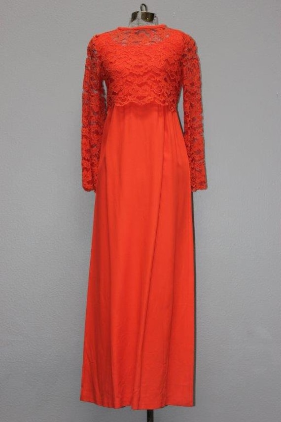 1960s Orange Rayon Cocktail Gown