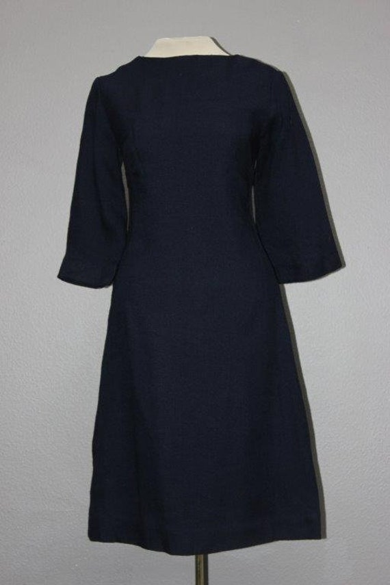 1960s Vintage Barkcloth Navy Shift Dress