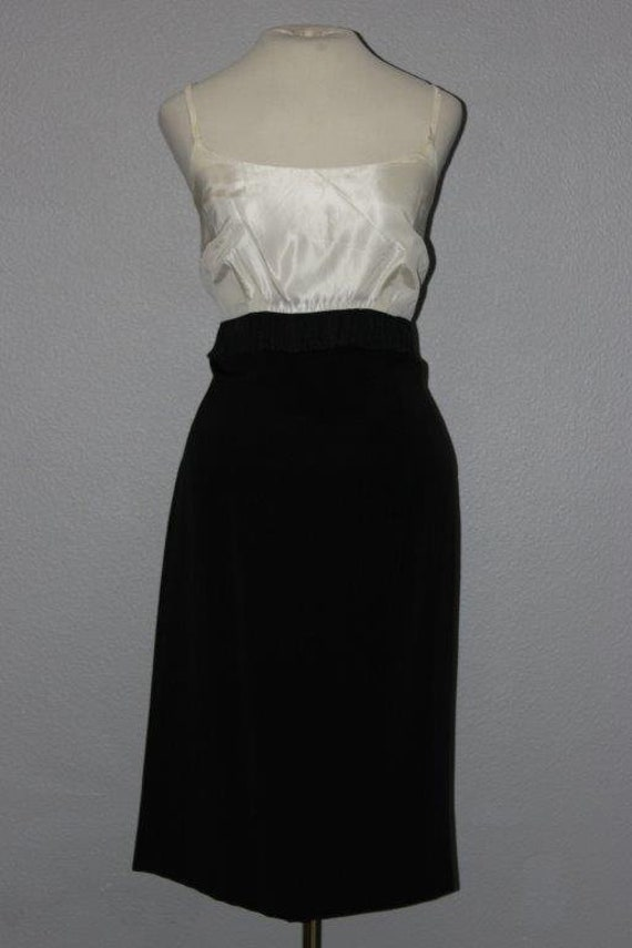 Cute 1960s Black and White Cocktail Dress