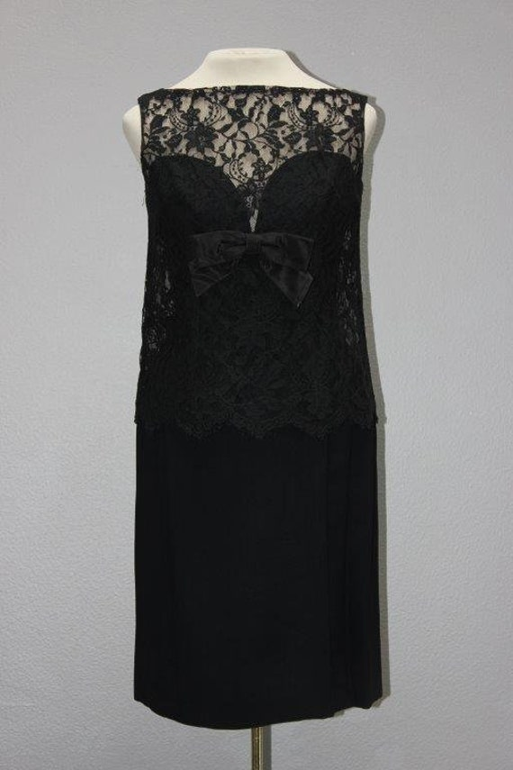 Sexy Vintage Black Crepe and Lace Party Gown