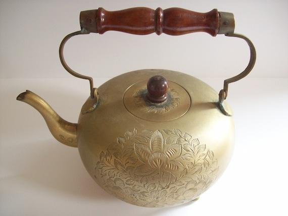 Vintage Brass Teapot Boho Teapot Tea Kettle Etched Brass Teapot Vintage Boho Decor Vintage Teapot Brass Kettle Boho Brass