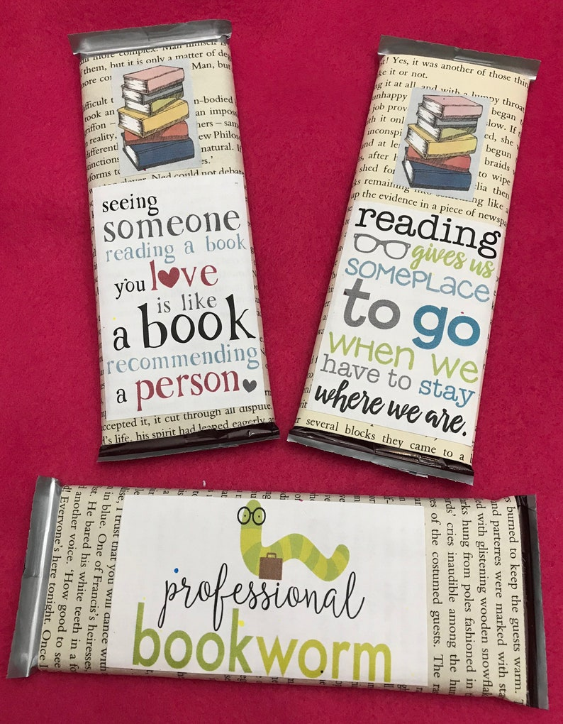 SIX Candy bar gift favor  book club book lover librarian image 0