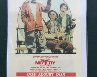 Vintage 1925/1981 Mid-City Federal Savings Philadelphia August calendar page