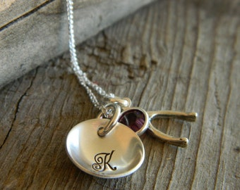 Sterling Silver Initial Cupped Disc Hand stamped Necklace with Wish Bone and  Swarovski Birthstone
