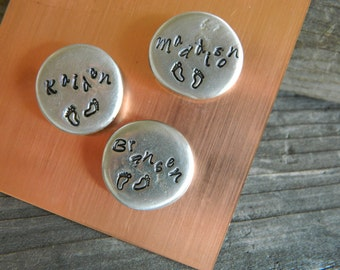 3 Silver Magnets with Kids names and foot prints