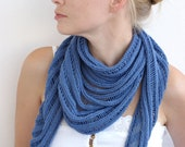 Handmade women shawl, hand knit shawl, knitted shawl, women scarf, cotton shawl, cotton women sharf, blue shawl, summer shawl, MADE TO ORDER