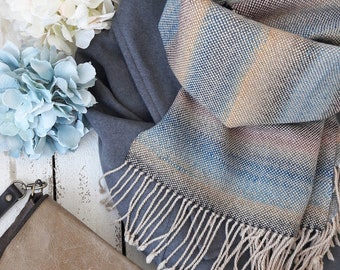 Handwoven scarf women pashmina scarf blue gray stripes handwoven scarf