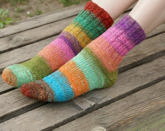 Hand knitted women wool Socks colorful striped summer fashion pink unisex Noro