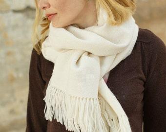 White woven scarf, merino wool pashmina, hand woven scarf