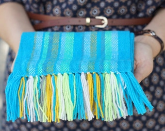blue handwoven wrap merino wool scarf for baby Baby Scarf