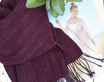hand woven wrap merino wool scarf for her burgundy scarf