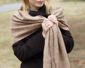 Brown handwoven wrap merino alpaca wool scarf for her rustic woodland