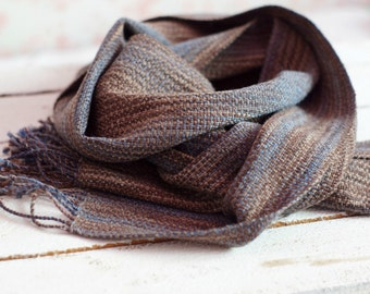 Handwoven men scarf, blue brown men scarf, unisex scarf, stripped scarf, wool wrap, men accessoryhandwoven for him READY TO SHIP