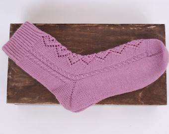 Hand knit wool Socks women Rhombuses fishnet lilac merino wool for her