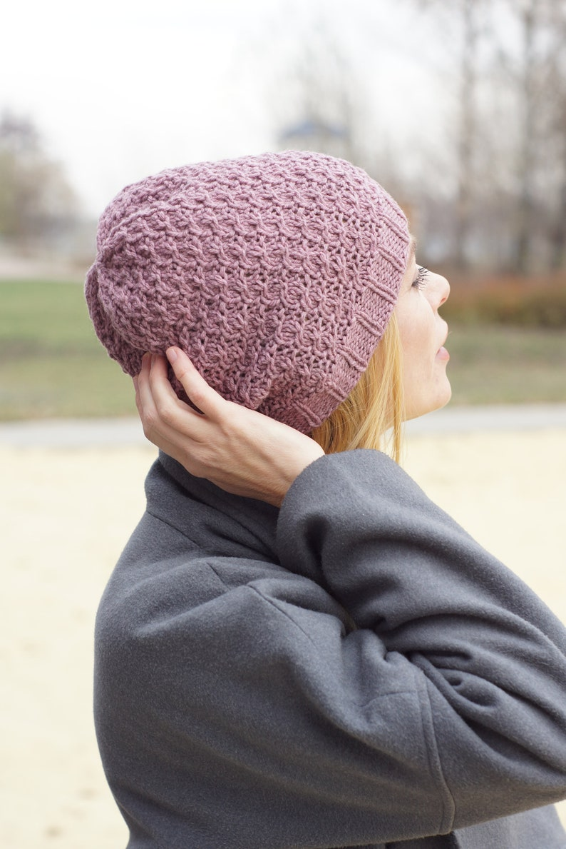 Hand knit hat merino wool hat pink hat pink Womens hats women beanie hand knit hat beanie knit hat Hats for women knitted for women