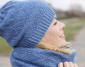 Hand knit women set Scarf and hat wool blue READY TO SHIP