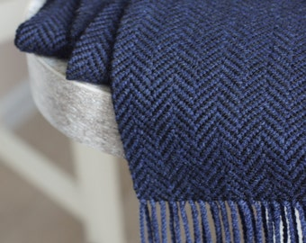 Hand woven black blue men cashmere scarf, striped wool weaving scarf