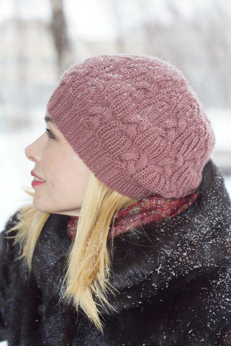 b118237c29ee5 Hand knit hat beret wool women hat beret Hand Knit hat