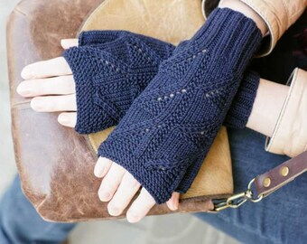 Hand knitting gloves knit women mittens blue for her