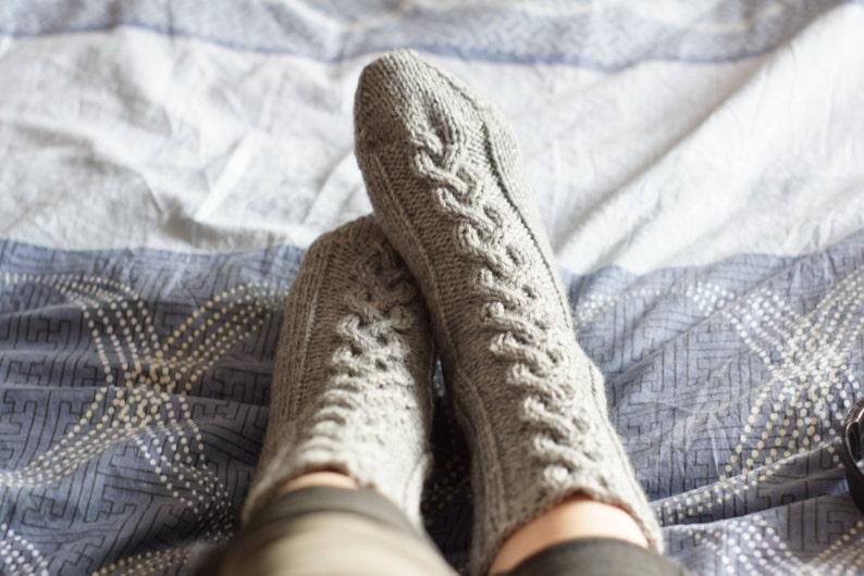 Hand knit womens thick Socks wool alpaca rustic brown Halloween