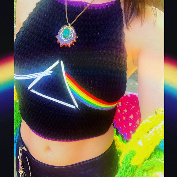 MADE TO ORDER Prisma Rainbow Pride Croceht  Lace Bralette