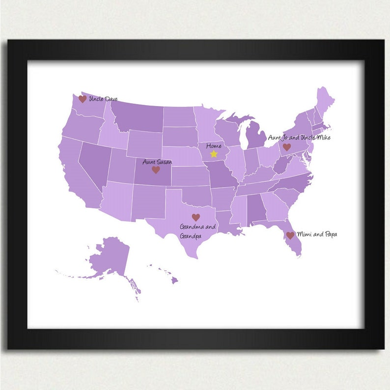 Personalized Map United States Map In Purple Family Is Etsy