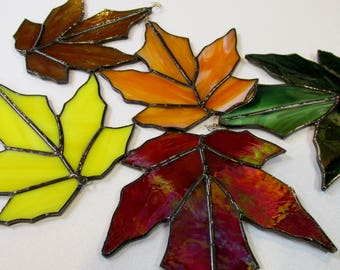 Colorfull Fall Stained Glass Leaves Falling Leaves Silver Solder Lines
