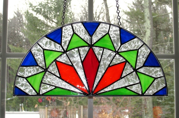 Half Circle Stained Glass Window Design Triangle Diamond Etsy