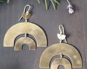 Amara Earrings . Lightly Hammered, Brushed and Polished Bronze with Sterling Silver
