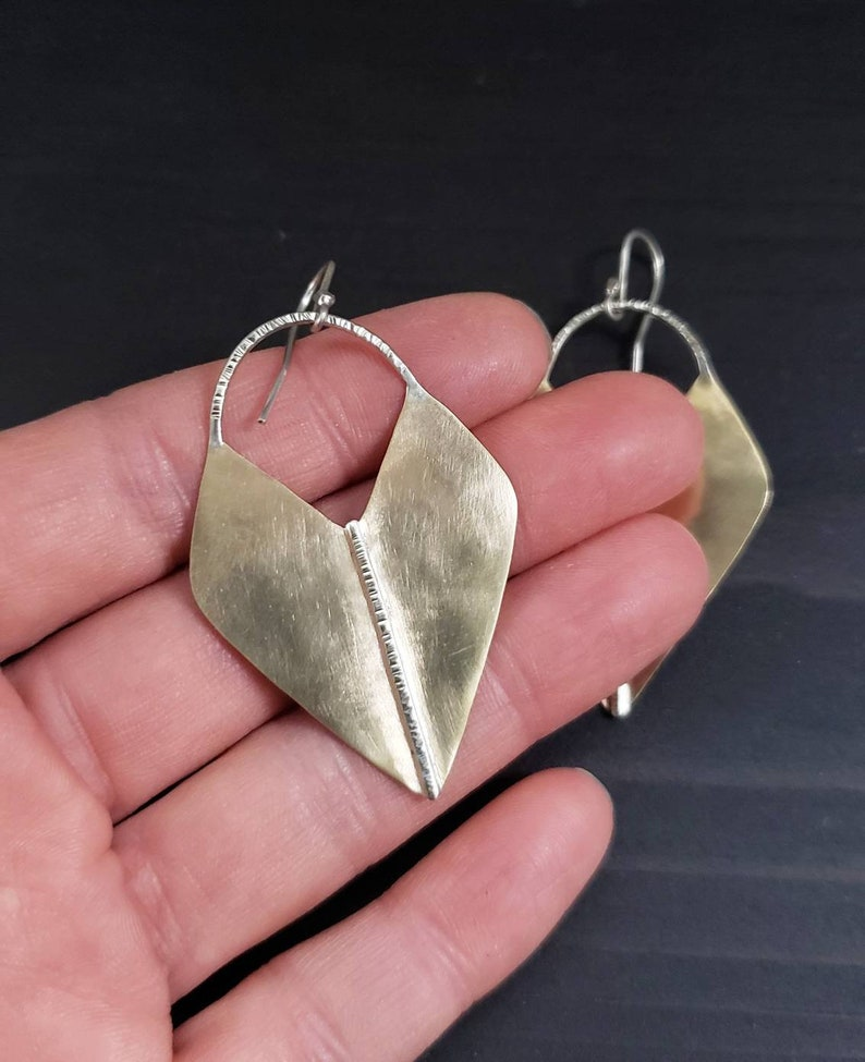 Bronze and Sterling Silver Hammered and Brushed Earrings Artemis