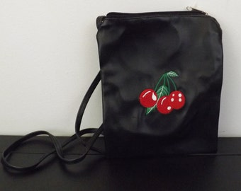 1a6cc873c7b0 Black Pleather Purse with Cherries