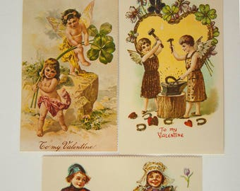 Vintage Reproduction Valentine Postcards, Victorian Fine Art, BE MY VALENTINE Postcards, Merrimack Publishing, Perforated Edges,