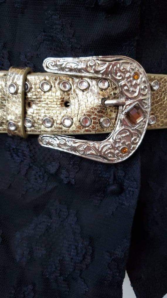 Leather Gold Belt Rhinestones, Conch Belt, Vintag… - image 8