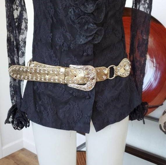 Leather Gold Belt Rhinestones, Conch Belt, Vintag… - image 1