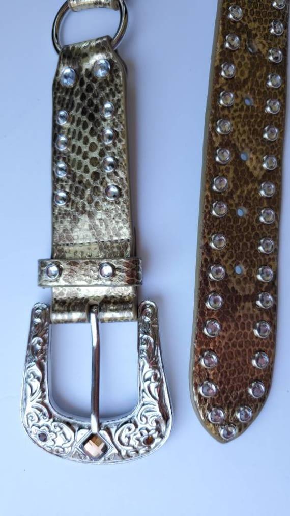Leather Gold Belt Rhinestones, Conch Belt, Vintag… - image 3
