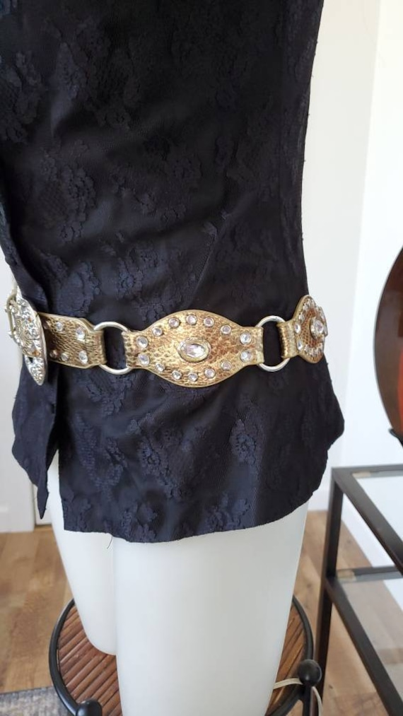 Leather Gold Belt Rhinestones, Conch Belt, Vintag… - image 4