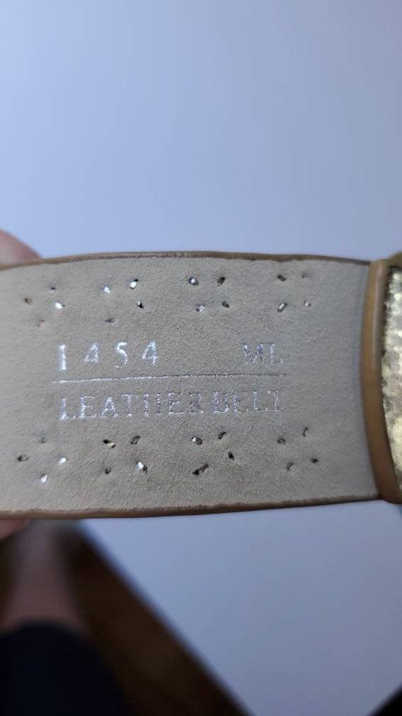 Leather Gold Belt Rhinestones, Conch Belt, Vintag… - image 5