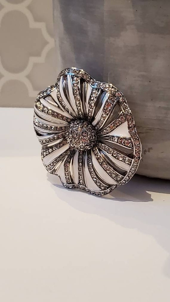 Vintage Joan Rivers Silver Flower Brooch, Joan Riv