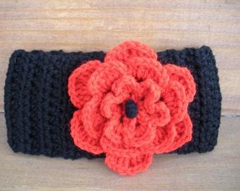 Crochet headband Womens headband Winter Fashion Accessories Women Earwarmer  Head scarf Winter in Black with Red Crochet flower ef2e2312436