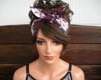 "headband bandana head scarf dolly bow hair solid white plain 4/"" wide cotton"