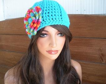 89f6b09493a Womens Hat Crochet Hat Winter Fashion Accessories Women Beanie Hat Cloche  in Aqua blue with Multicolor Crochet Flower
