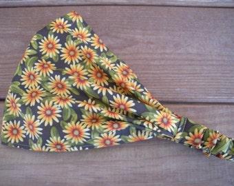Womens Headband Fabric Headband Fashion Accessories Women Headscarf Headwrap in Olive Green with Yellow Daisies print