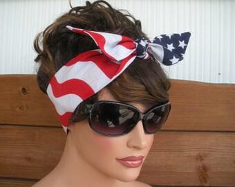 American Flag Headband 4th of July Headband Dolly Bow Summer Fashion Accessories Women Headscarf by creationsbyellyn