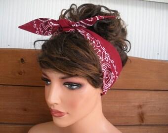 Womens Headband Dolly Bow Headband Summer Fashion Accessories Women Headscarf Bandana Burgundy with White Paisley - Choose color