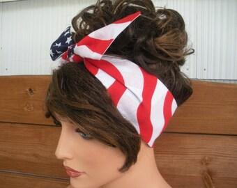 American Flag Headband July 4th headband Summer Fashion Accessories Women Headscarf Dolly bow headband by creationsbyellyn